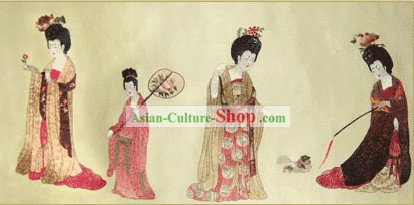 Chinese Bian Liang Embroidery Handicraft-Beauty Picking Fowers
