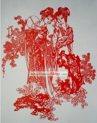 Chinese Paper Cuts Classics-Beautiful Ancient Women with Fan