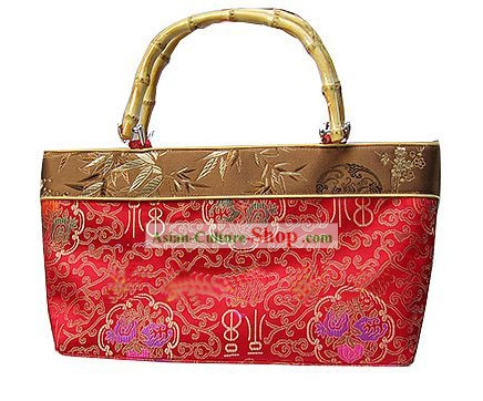 Chinese Lucky Red Bamboo Handle Handbag
