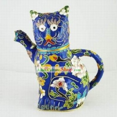 Chinese Traditional Closionne Kettle-Attracting Money Cat