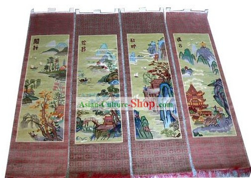 Art Decoration Chinese Hand Made Thick Natural Silk Hanging Rug(35?��160cm)