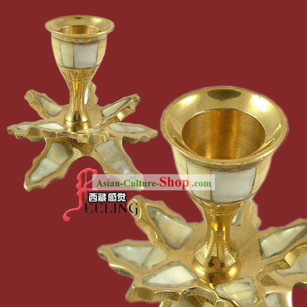 Indian Two Layers Brass and Shell Candleholder