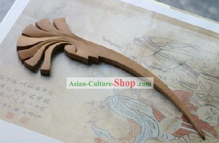 Hand Carved Chinese Traditional Walnut Hair Pin (Hairpin)- Missing