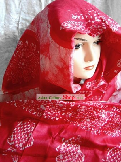 Indian Stunning Red Cotton Shawl