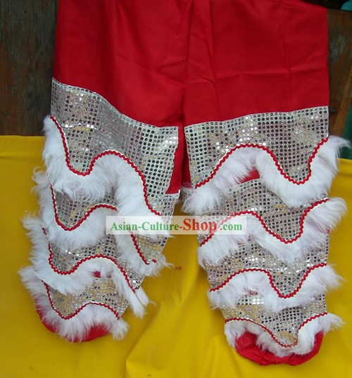 White Wool Top Quality Two Pairs of Lion Dance Pants and Claws