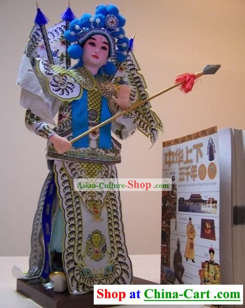 Handmade Peking Silk Figurine Doll - Zhao Yun in Three Kingdoms