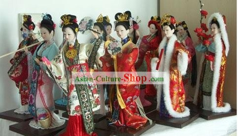 Handmade Peking Silk Figurine Dolls - 12 Beauties in Dream of the Red Chamber
