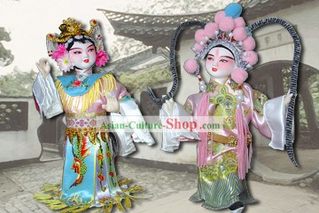 Handmade Peking Silk Figurine Doll - Lv Bu and Diao Chan