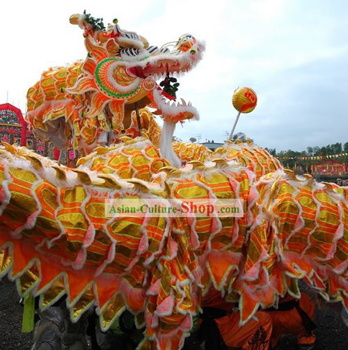 Traditional Happy Celebration Large Supreme Long Wool Dragon Dance Equipment Whole Set