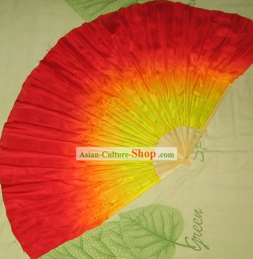 Supreme Bamboo Handle Chinese Traditional Silk Dance Fan (yellow to red color transition)