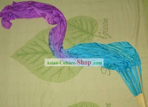 Chinese Color Transition Silk Fan with Long Fabric
