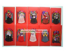 Chinese Opera Mask Paper Cuts Lucky Red Box (10 Pieces Set)