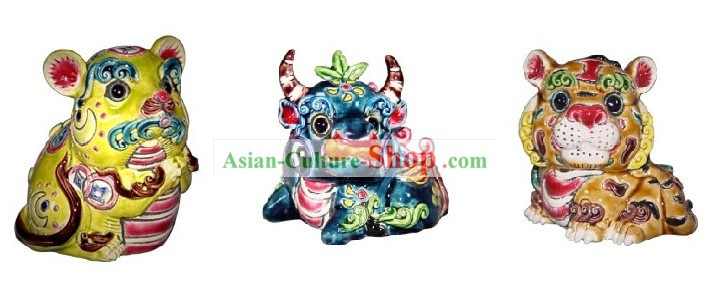 Chinese Classic Cochin Zodiac Ceramics Statues 12 Pieces Sets
