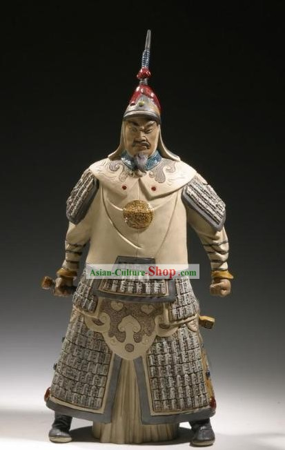 Chinese Classic Shiwan Ceramics Statue Arts Collection - Qian Long Emperor