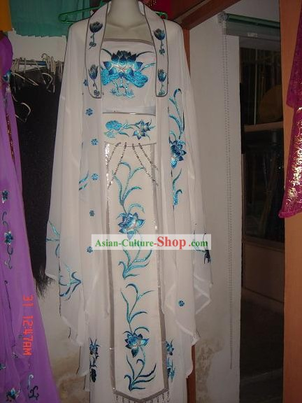 Chinese Classic White Kwan-yin Costumes Complete Set