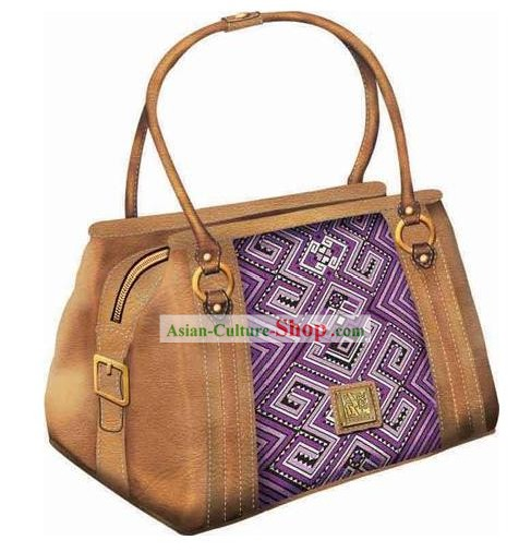 Hand Made and Embroidered Chinese Miao Minority Handbag for Women - Purple
