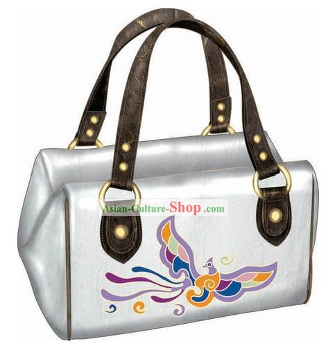Hand Made and Embroidered Chinese Miao Minority Handbag for Women - White Phoenix
