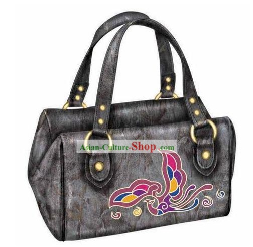 Hand Made and Embroidered Chinese Miao Minority Handbag for Women - Brown Phoenix