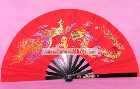 Chinese Stainless Dragon Phoenix Steel Taiji and Kung Fu Fan