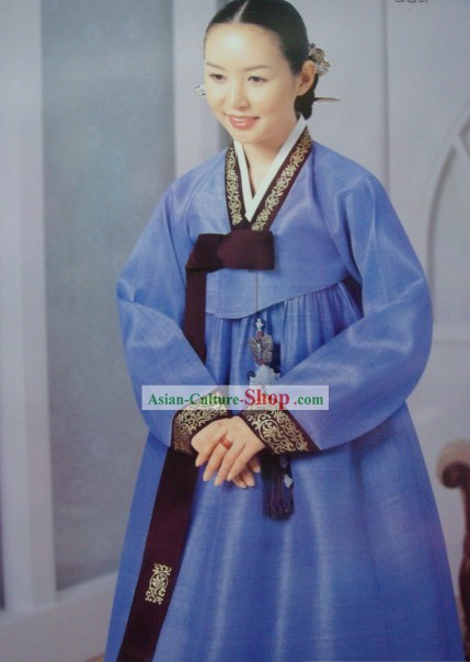 Korean Classic 100% Handmade Korean Hanbok for Woman (deep blue)