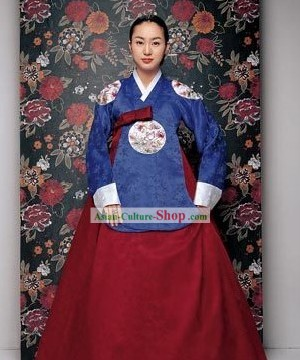 Korean Traditional Handmade Hanbok for Women (blue)