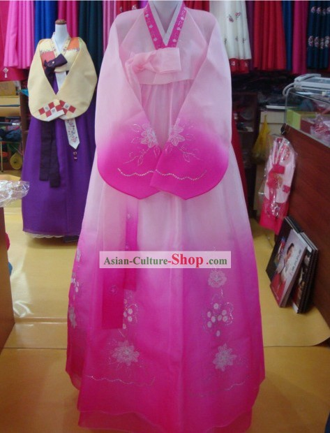 Korean Traditional Handmade Romantic Pink Hanbok for Women