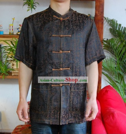Chinese Mandarin Style Short Handed Flax Calligraphy and Painting Shirt