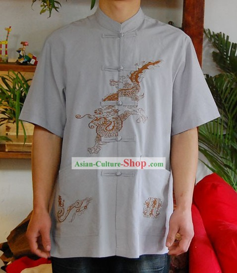 Chinese Classical Mandarin Style Short Handed Flax Dragon Shirt