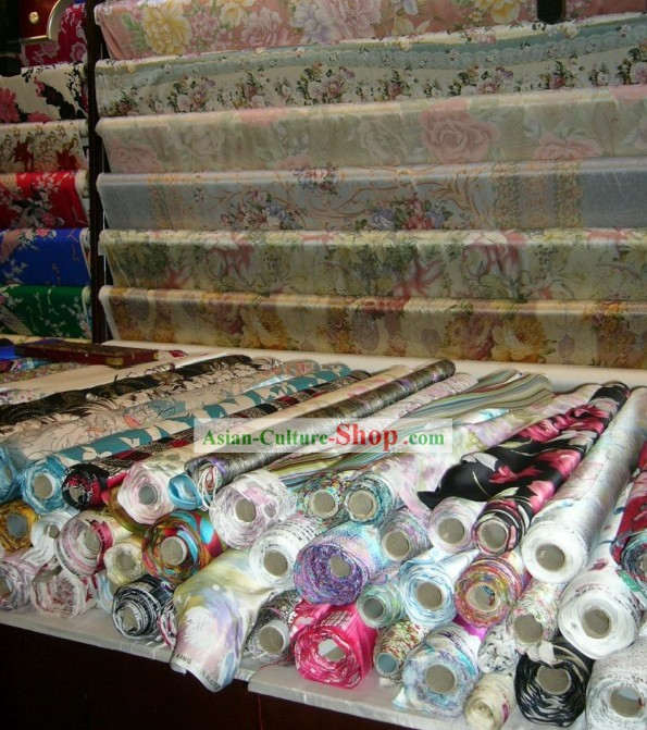 China Traditional Mandarin Silk Flower Fabric