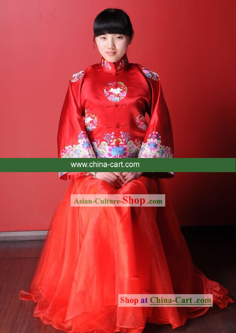 Supreme Chinese Traditional Hand Embroidered Lucky Red Wedding Costumes for Bride