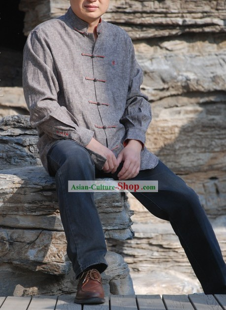 Chinese Traditional Mandarin Cotton Blouse for Men