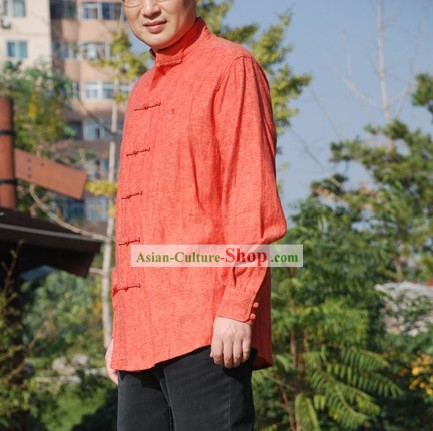Chinese Traditional Mandarin Cotton Blouse for Men (red)