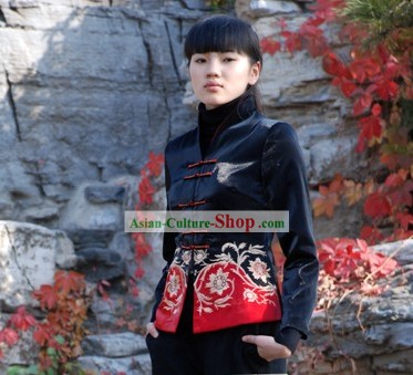 Chinese Made to Order Red Flower Cheongsam Style Blouse