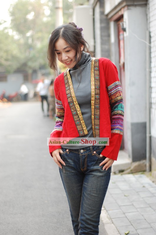Chinese Traditional Lucky Red Folk Flax Blouse for Women
