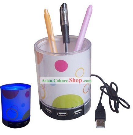 Luminated Pen Holder with USB - Christmas and New Year Gift