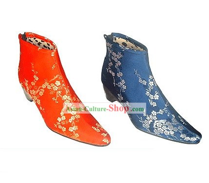 Chinese Traditional Handmade Cuban Heel Cotton Boots