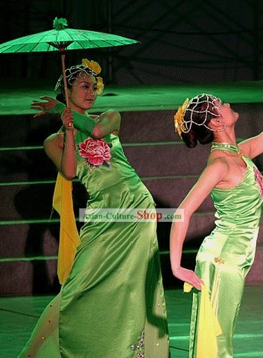 Chinese Traditional Green Peony Cheongsam Dance Costumes Complete Set