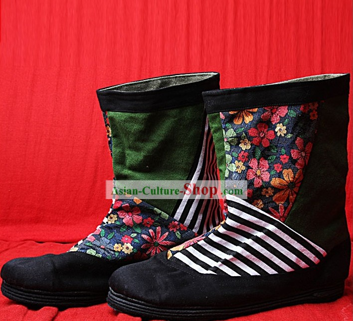 Handmade Zebra Long Cloth Boots