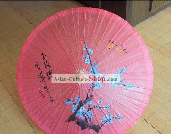 Traditional Chinese Hand Beach, Rain and Sun Umbrella - Plum Blossom