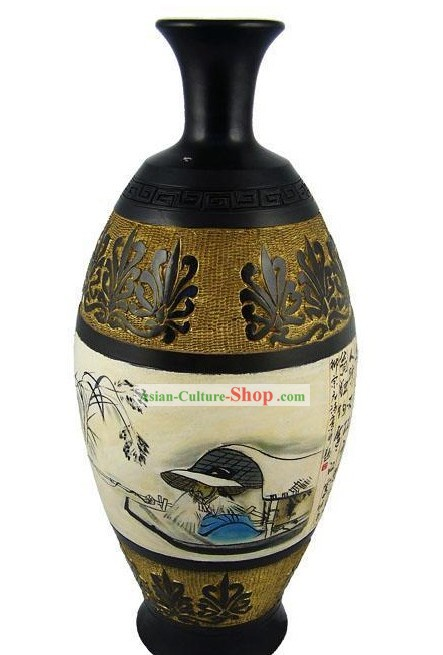 Chinese Traditional Longshan Black Pottery - Classical Landscape