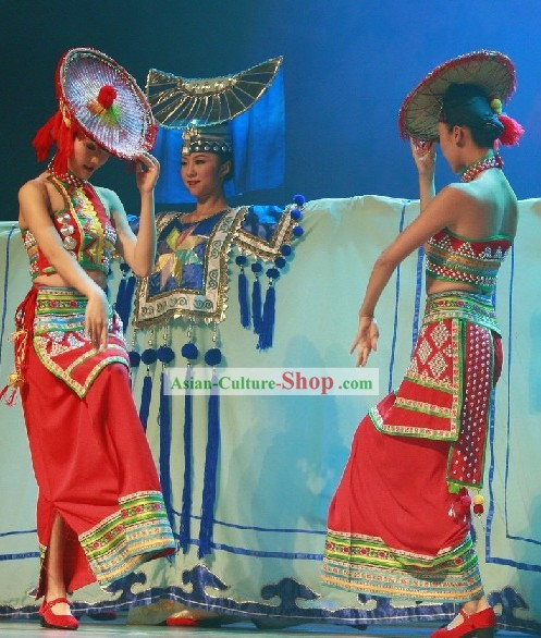 Chinese Dai Minority Dance Costumes and Hat