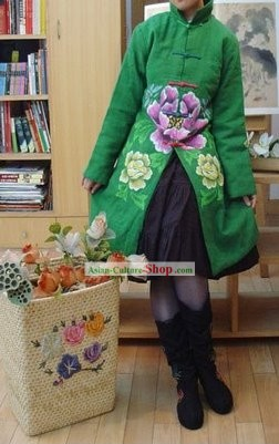 Chinese Classic Mandarin Green Large Flower Winter Outercoat