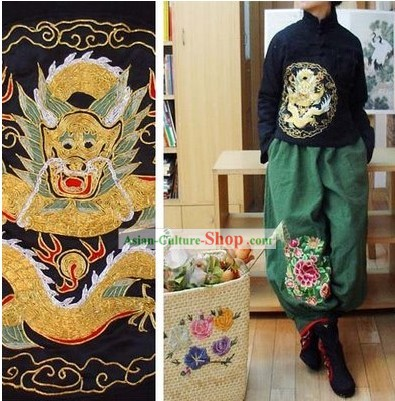 Supreme Chinese Black Hands Embroidered Dragon Cotton Blouse