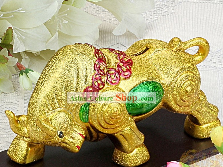 Supreme Chinese New Year Golden Ceramic Cow Piggy Banks (2 pieces set)