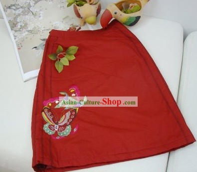Chinese Traditional Hands Embroidered Butterfly Lucky Red Skirt