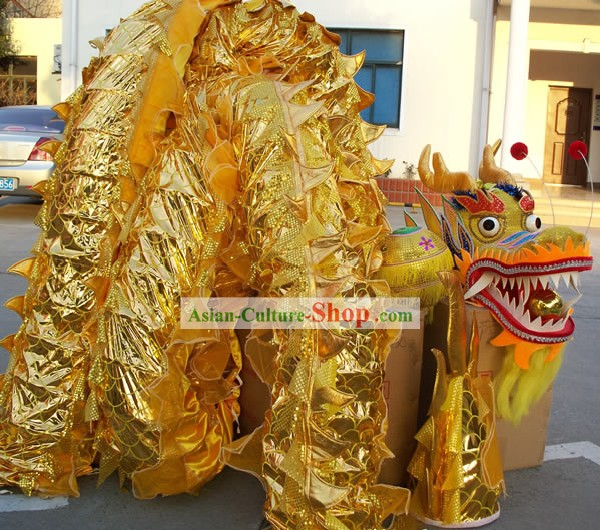 Happy Festival Celebration Chinese Shinning Dragon Dance Costumes Complete Set (gold)