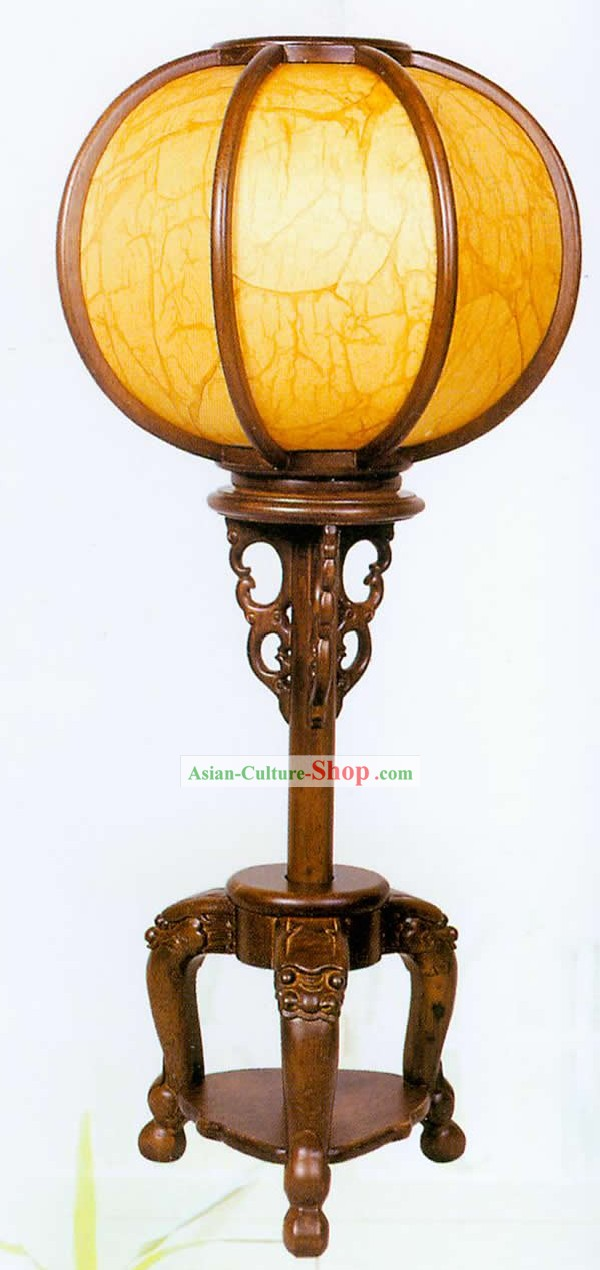 25 Inches Large Chinese Hand Carved Wooden and Sheepskin Reading Lantern