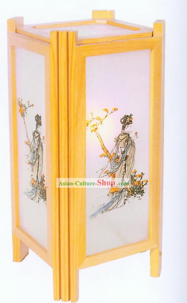 Chinese Hand Made Ancient Beauty Wooden Desk Lantern
