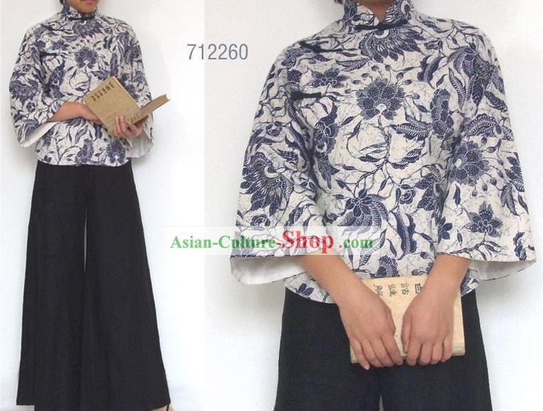 Chinese Traditional Mandarin Cotton Blouse - Blue and White Porcelain