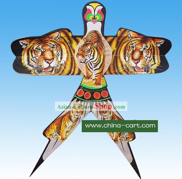 Chinese Classical Hand Painted and Made Swallow Kite - Tiger Painting